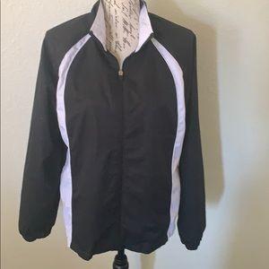 Danskin polyester athletic jacket black white